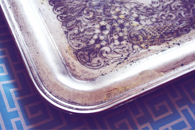 10 Days of Dorm, jewelry tray, jewelry, dorm, college, charming, spray paint, thrift store, gems, jewels, day 7, DIY, silver tray