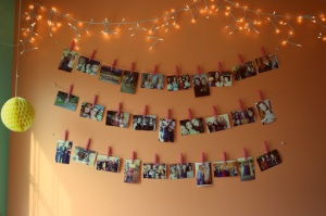 10 Days of Dorm, pictures, dorm decorations, pinned up memories, cheap decorations, DIY, wall art, clothespins, bits and little pieces