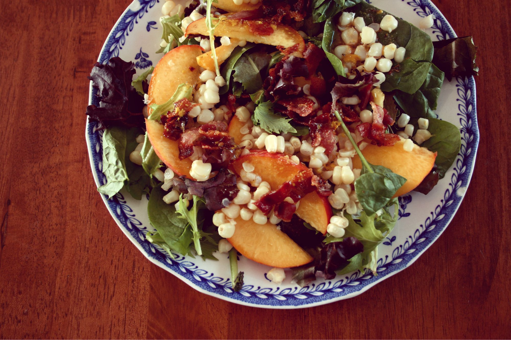 corn, bacon, and peach salad